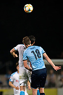 SYDNEY, AUSTRALIA - MAY 21: Kawasaki Frontale player Leandro Damiao (9) and Sydney FC player Jacob Tratt (18) go up for the ball at AFC Champions League Soccer between Sydney FC and Kawasaki Frontale on May 21, 2019 at Netstrata Jubilee Stadium, NSW. (Photo by Speed Media/Icon Sportswire)