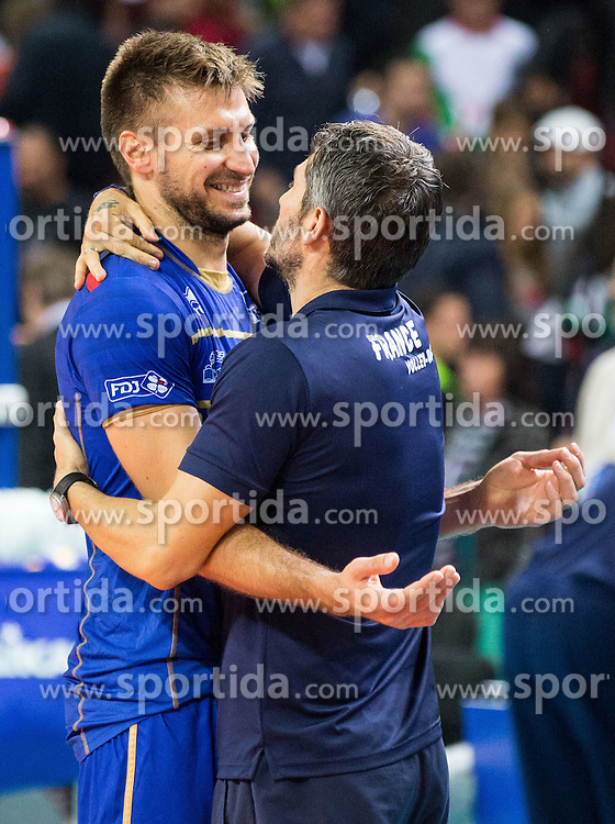 Antonin Rouzier #4 of France celebrate after winning during volleyball match between National teams of France and Bulgaria in 2nd Semifinal of 2015 CEV Volleyball European Championship - Men, on October 17, 2015 in Arena Armeec, Sofia, Bulgaria. Photo by Vid Ponikvar / Sportida