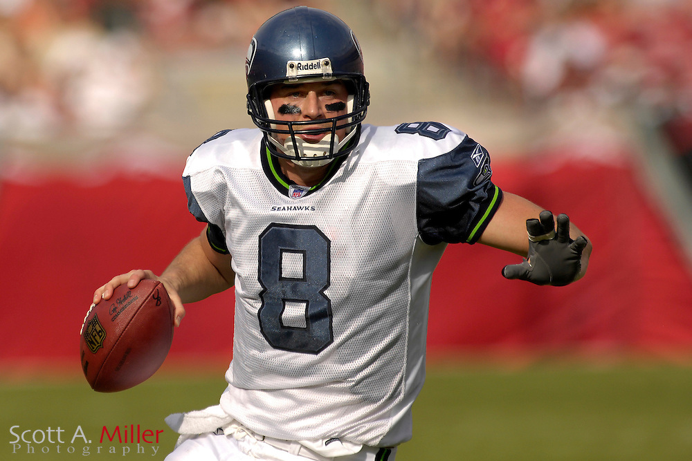 Seattle Seahawks quarterback Matt Hasselback  (8) during during the Seahawks game against the  Tampa Bay Buccaneers at Raymond James Stadium on Dec. 31, 2006 in Tampa, Florida......©2006 Scott A. Miller