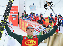 16.12.2017, Nordische Arena, Ramsau, AUT, FIS Weltcup Nordische Kombination, Langlauf, im Bild der Jubel des Siegers Eric Frenzel (GER) // Eric Frenzel of Germany celebrates in the finish area during Cross Country Competition of FIS Nordic Combined World Cup, at the Nordic Arena in Ramsau, Austria on 2017/12/16. EXPA Pictures © 2017, PhotoCredit: EXPA/ Martin Huber
