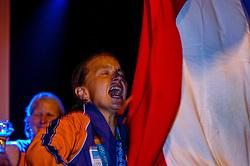 27-08-2004 GRE: Olympic Games day 14, Athens<br /> Hockey finale vrouwen Nederland - Duitsland werd verloren met 1-2 maar in het HHH wisten de vrouwen toch wel een feestje te bouwen / Ageeth Boomgaardt