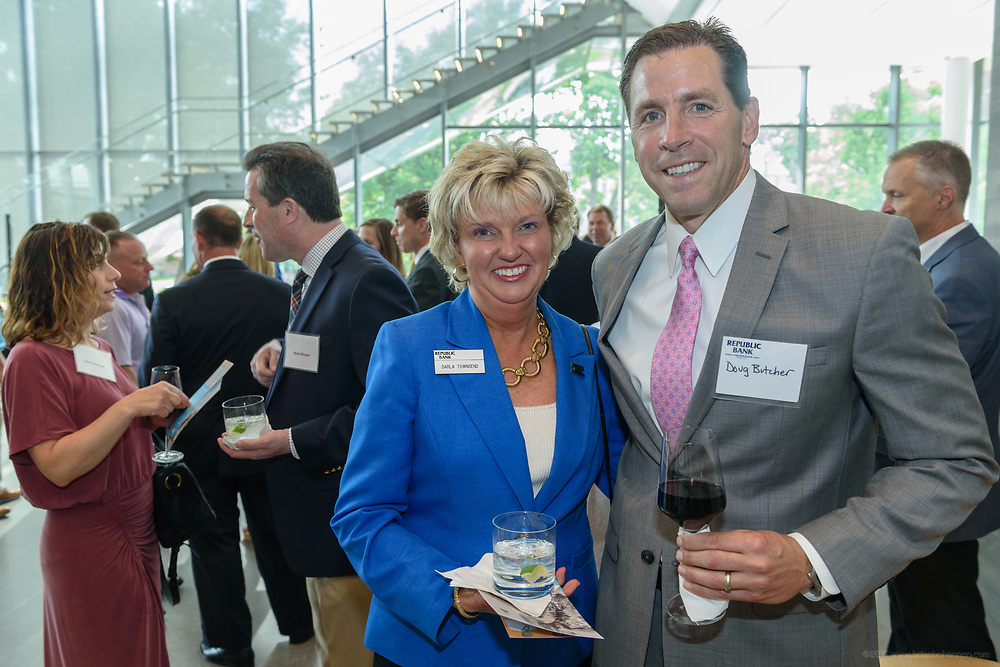 Darla Townsend and Doug Butcher at the 10-year anniversary celebration of Republic Bank's Private Banking and Business Banking divisions Wednesday, May 17, 2017, at the Speed Art Museum in Louisville, Ky. (Photo by Brian Bohannon)