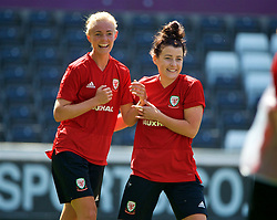SWANSEA, WALES - Wednesday, June 6, 2018: Wales' captain Sophie Ingle (left) and Angharad James (right) during a training session at the Liberty Stadium ahead of the FIFA Women's World Cup 2019 Qualifying Round Group 1 match against Bosnia and Herzegovina. (Pic by David Rawcliffe/Propaganda)