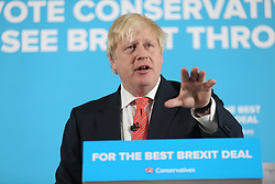 © Licensed to London News Pictures. 06/06/2017. Shildon UK. Foreign Secretary Boris Johnson making a speech today on the General Election campaign at Shildon Civic Hall in County Durham. Photo credit: Andrew McCaren/LNP