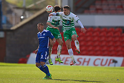 WREXHAM, WALES - Monday, May 2, 2016: The New Saints' Adrian Cieslewicz and Aaron Edwards in action against Airbus UK Broughton's Bailey Jackson during the 129th Welsh Cup Final at the Racecourse Ground. (Pic by David Rawcliffe/Propaganda)