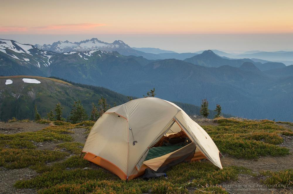 Alpenglow on backcountry campsite on Skyline Divide, Mount Baker Wilderness, North Cascades Washington