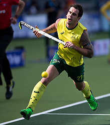 Hockey World Cup 2014<br /> The Hague, Netherlands <br /> Day 5- Men Australia v Belgium<br /> Kieran Govers <br /> <br /> Photo: Grant Treeby<br /> www.treebyimages.com.au