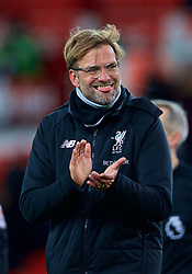 STOKE-ON-TRENT, ENGLAND - Wednesday, November 29, 2017: Liverpool's manager Jürgen Klopp celebrates his side's 3-0 victory during the FA Premier League match between Stoke City and Liverpool at the  Bet365 Stadium. (Pic by David Rawcliffe/Propaganda)