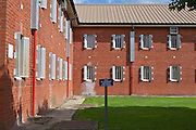 The courtyard outside one of the residential wings. HMP The Mount, Bovingdon, Hertfordshire