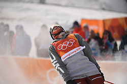 PYEONGCHANG, Feb. 18, 2018  Nick Goepper of the United States celebrates after finishing his run during the men's ski slopestyle of freestyle skiing at the 2018 PyeongChang Winter Olympic Games, at Phoenix Snow Park, South Korea, on Feb. 18, 2018. Nick Goepper won the silver medal with 93.60 points. (Credit Image: © Lui Siu Wai/Xinhua via ZUMA Wire)
