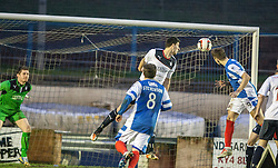 Cowdenbeath's Greg Stewart heads towards goal, but its saved by Falkirk's keeper Michael McGovern.<br /> Cowdenbeath 0 v 2 Falkirk, Scottish Championship game today at Central Park, the home ground of Cowdenbeath Football Club.<br /> &copy; Michael Schofield.