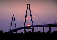 Sunset over the Arthur Ravenel Jr. Bridge in Charleston, South Carolina.