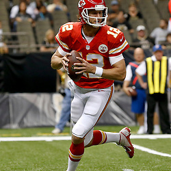 Aug 9, 2013; New Orleans, LA, USA; Kansas City Chiefs quarterback Ricky Stanzi (12) against the New Orleans Saints during a preseason game at the Mercedes-Benz Superdome. The Saints defeated the Chiefs 17-13. Mandatory Credit: Derick E. Hingle-USA TODAY Sports