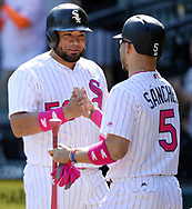 CHICGO - MAY 14:  Melky Cabrera #53 of the Chicago White Sox celebrates  with Yolmer Sanchez after hitting an RBI single in the eighth inning against the San Diego Padres on May 14, 2017 at Guaranteed Rate Field in Chicago, Illinois.  The White Sox defeated the Padres 9-3 .  (Photo by Ron Vesely)  Subject: Melky Cabrera; Yolmer Sanchez