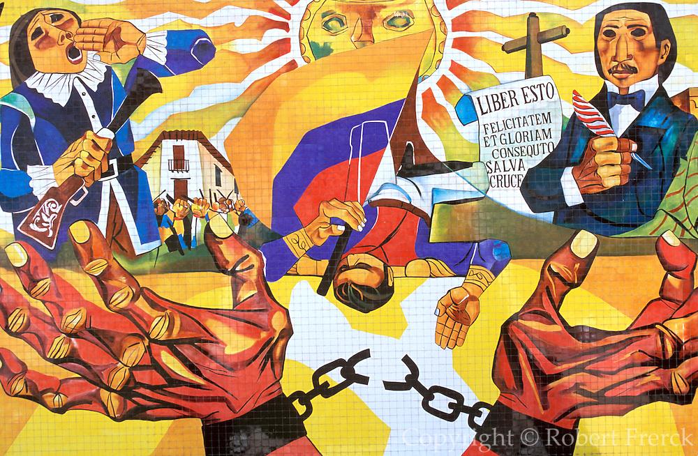 ECUADOR, QUITO, HISTORY Cima de Libertad museum mural