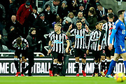 Joselu (#21) of Newcastle United celebrates Newcastle United's first goal (1-0) during the Premier League match between Newcastle United and Leicester City at St. James's Park, Newcastle, England on 9 December 2017. Photo by Craig Doyle.