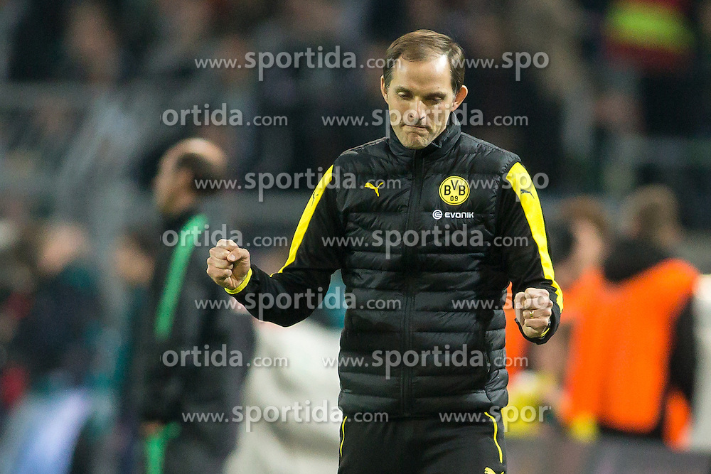 02.04.2016, Signal Iduna Park, Dortmund, GER, 1. FBL, Borussia Dortmund vs SV Werder Bremen, 28. Runde, im Bild Trainer Thomas Tuchel (Borussia Dortmund) jubelt beim Abpfiff // during the German Bundesliga 28th round match between Borussia Dortmund and SV Werder Bremen at the Signal Iduna Park in Dortmund, Germany on 2016/04/02. EXPA Pictures &copy; 2016, PhotoCredit: EXPA/ Eibner-Pressefoto/ Sch&uuml;ler<br /> <br /> *****ATTENTION - OUT of GER*****