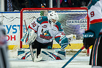 KELOWNA, CANADA - FEBRUARY 16: Roman Basran #30 of the Kelowna Rockets makes a save against the Vancouver Giants  on February 16, 2019 at Prospera Place in Kelowna, British Columbia, Canada.  (Photo by Marissa Baecker/Shoot the Breeze)