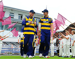 Colin Ingram and Craig Meschede of Glamorgan walks out.  - Mandatory by-line: Alex Davidson/JMP - 24/07/2016 - CRICKET - Cooper Associates County Ground - Taunton, United Kingdom - Somerset v Glamorgan - Royal London One Day
