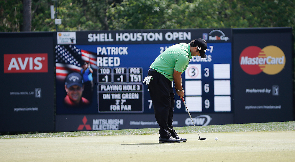 Patrick Reed puts on the third green in the Shell Houston Open-Round 1 at the Golf Club of Houston on Wednesday, March 31, 2016 in Humble, TX. (Photo: Thomas B. Shea/For the Chronicle)
