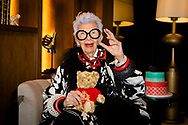 Fashion icon Iris Apfel attends a Queen Mary 2 Transatlantic Fashion Week afternoon tea in New York at the end of the 2017 edition.<br /> Date: Thursday September 7; 2017.<br /> For the second year running, the Transatlantic Fashion Week brought together some of the most reputable names within the fashion industry to host seven days of runway shows, inspiring talks, glamorous dinners and exclusive unveilings. The ship arrived in to New York today, the very same day as New York Fashion Week 2017 begins.<br /> <br /> Photograph by Christopher Ison &copy; for Cunard.<br /> 07544044177<br /> chris@christopherison.com<br /> www.christopherison.com