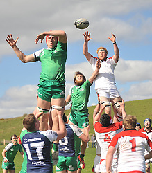 Connacht's Kevin Hastings and Ulster's David Sharkey compete at the lineout during junior interpro at Carrowholly on saturday last.<br /> Pic Conor McKeown