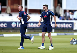 James Anderson of England and Stuart Broad of England smile during the warm up - Mandatory by-line: Robbie Stephenson/JMP - 08/07/2017 - CRICKET - Lords - London, United Kingdom - England v South Africa - Investec Test Series