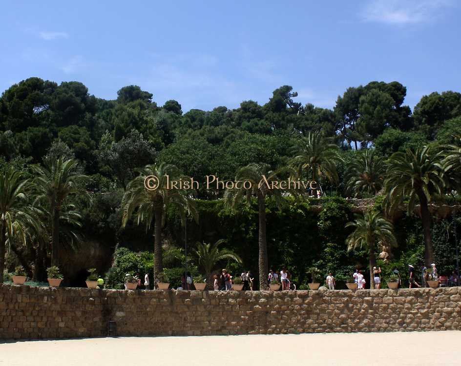 Scenes from Park Güell. A garden complex with modern architectural structures within located on the hill of El Carmel Barcelona. The park was designed by Antoni Gaudi. Completed in 1914. Barcelona. Spain 2013