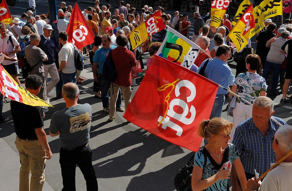 31/07/07 - CLERMONT FERRAND - PUY DE DOME - FRANCE - Rassemblement a l appel des syndicats cheminots de Clermont Ferrand, pour manifester contre la loi sur le service minimum - Photo Jerome CHABANNE