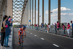Breakaway from the peloton with rider of Nippo - Vini Fantini (ITA) at the 2nd lap, 1200m before the finish on the Waalbridge at Nijmegen, stage 2 from Arnhem to Nijmegen running 190 km of the 99th Giro d'Italia (UCI WorldTour), The Netherlands, 7 May 2016. Photo by Pim Nijland / PelotonPhotos.com | All photos usage must carry mandatory copyright credit (Peloton Photos | Pim Nijland)