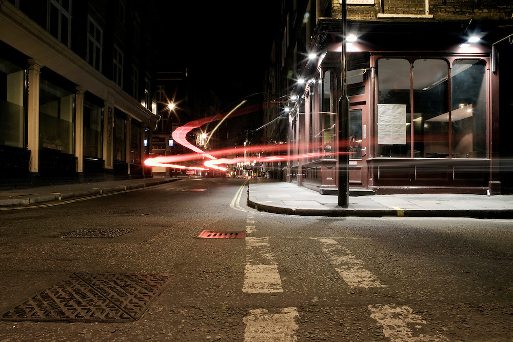 Urban Landscape of a London street corner at night