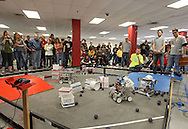 Spectators watch a qualification match at the FTC Qualifying Tournament held at Linn-Mar High School at 3111 North 10th Street in Marion on Saturday November 19, 2011. (Stephen Mally/Freelance)