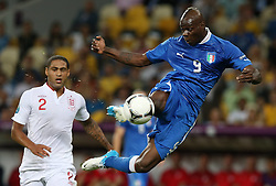 Mario Balotelli ITA and Glen Johnson during Italy V England Quarter-finals in the Euro 2012, Sunday June 24, 2012, in Kiev, Ukraine. Photo By Imago/i-Images