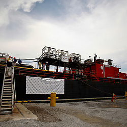 A barge carrying the Ocean Therapy Solutions oil separating centrifuge device is seen at Hornbeck Offshore in Port Fourchon, Louisiana, U.S., on Tuesday, June 15, 2010. (Mandatory Credit: Derick E. Hingle)