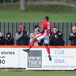 TELFORD COPYRIGHT MIKE SHERIDAN 9/2/2019 - GOAL. Lee Ndlovu scores to make it 2-0 during the Vanarama Conference North fixture between Brackley Town and AFC Telford United at St James' Park.