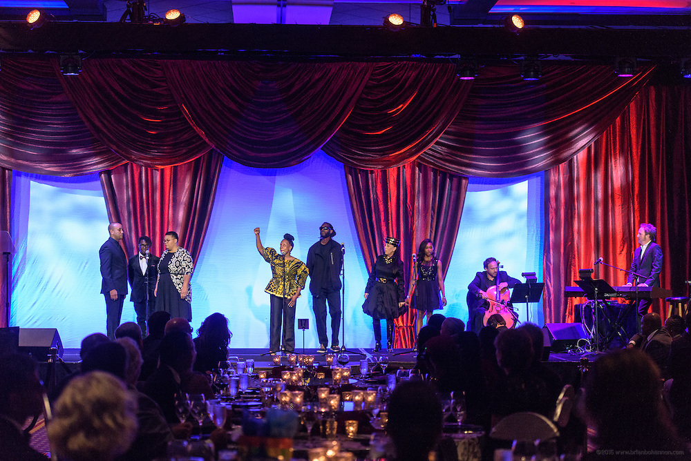 """I am Ali"" is performed by CJ Vanston, Michael Fitzpatrick, Barbara Sexton Smith and members of the The Humanity Passport Project Greater Community Choir at the fourth annual  Muhammad Ali Humanitarian Awards Saturday, Sept. 17, 2016 at the Marriott Hotel in Louisville, Ky. (Photo by Brian Bohannon for the Muhammad Ali Center)"