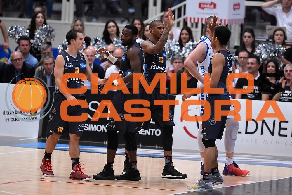 Craft Aaron,Gomes Joao,Sutton Dominique<br /> Quarti di Finale Gara 2<br /> Legabasket A 2016,2017<br /> Trento 14,05,2017<br /> Foto Ciamillo-Castoria,GiulioCiamillo