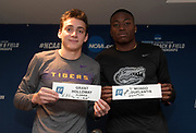 Armand Duplantis aka Mondo Duplantis of LSU (left) and Grant Holloway of Florida pose after exchanging name cards during a press conference prior to the NCAA Indoor Track & Field Championships in Birmingham, Ala., Thursday, May 7, 2019.