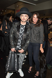 BOY GEORGE and TRISH SIMONON at the Al Films and Warner Music Screening of Kill Your Friends held at the Curzon Soho Cinema, 99 Shaftesbury Avenue, London on 27th October 2015.