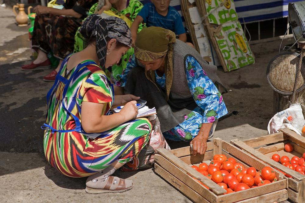 Women in market, Istaravshan, northern Tajikistan