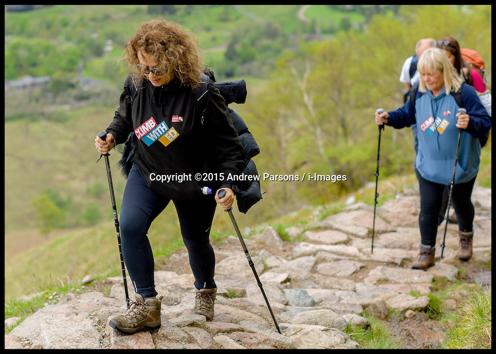 Image ©Licensed to i-Images Picture Agency. 30/05/2015. Fort William, Scotland,United Kingdom. Loose Women Stars L to R Nadia Sawalha, Linda Robson climb Ben Nevis for Climb with Ed in connection with the charity Children with Cancer. Picture by Andrew Parsons / i-Images