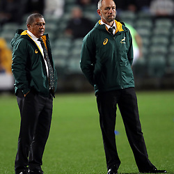 Allister Coetzee (Head Coach) of  South African (Springboks) with Brendan Venter during the Rugby Championship match between the New Zealand All Blacks and South Africa Springboks at QBE Stadium in Albany, Auckland, New Zealand on Saturday, 16 September 2017. Photo: Shane Wenzlick / lintottphoto.co.nz