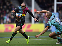 Rugby Union - 2019 / 2020 Gallagher Premiership - Harlequins vs. Gloucester<br /> <br /> Harlequins' Ross Chisholm evades the tackle of Gloucester's Chris Harris to score his sides first try, at The Stoop.<br /> <br /> COLORSPORT/ASHLEY WESTERN
