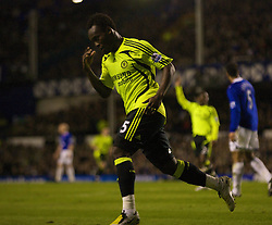 LIVERPOOL, ENGLAND - Thursday, April 17, 2008: Chelsea's Michael Essien celebrates scoring the opening goal against Everton during the Premiership match at Goodison Park. (Photo by David Rawcliffe/Propaganda)
