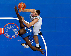 Florent Pietrus of France vs Jonas Valanciunas of Lithuania during basketball game between National basketball teams of Lithuania and France at FIBA Europe Eurobasket Lithuania 2011, on September 9, 2011, in Siemens Arena,  Vilnius, Lithuania. France defeated Lithuania 73-67.  (Photo by Vid Ponikvar / Sportida)