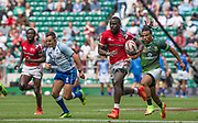Twickenham, Surrey United Kingdom. Kenya's, Samual OLIECH, attacking run on the wing, during Pool A, match South Africa vs Kenya, at the  &quot;2017 HSBC London Rugby Sevens&quot;,  Saturday 20/05/2017 RFU. Twickenham Stadium, England    <br /> <br /> [Mandatory Credit Peter SPURRIER/Intersport Images]