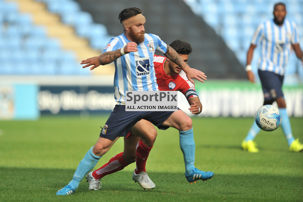 Coventrys Romain Vincelot holds of Chesterfields Sam Morsey, Coventry City v Chesterfield, Football League One, Ricoh Arena Coventry Saturday 19th September 2015