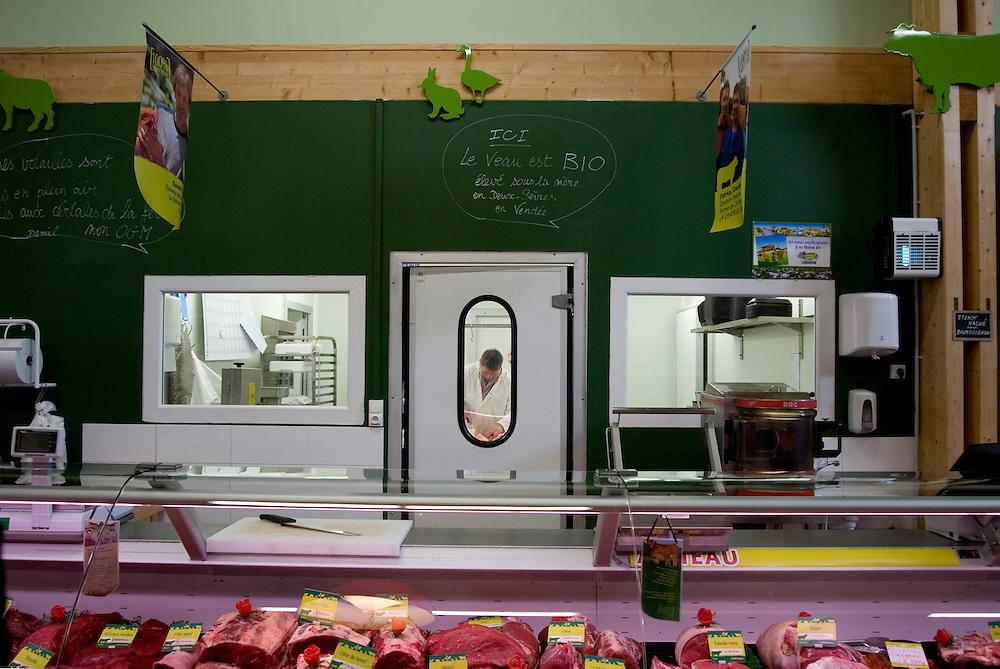 Boucherie, Plaisirs fermiers à Niort. Regroupement de producteur pour faire de la vente direct. Automne 2010.