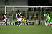 Arsenal's Joe Willock(59) scores from the penalty spot past Forest Green Rovers goalkeeper James Montgomery 0-1 during the EFL Trophy group stage match between Forest Green Rovers and U21 Arsenal at the New Lawn, Forest Green, United Kingdom on 7 November 2018.