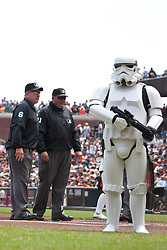 September 4, 2011; San Francisco, CA, USA;  Star Wars storm troopers guard MLB umpires umpire Bob Davidson (6) and umpire Hunter Wendelstedt (21) on the field before the game between the San Francisco Giants and the Arizona Diamondbacks at AT&T Park.
